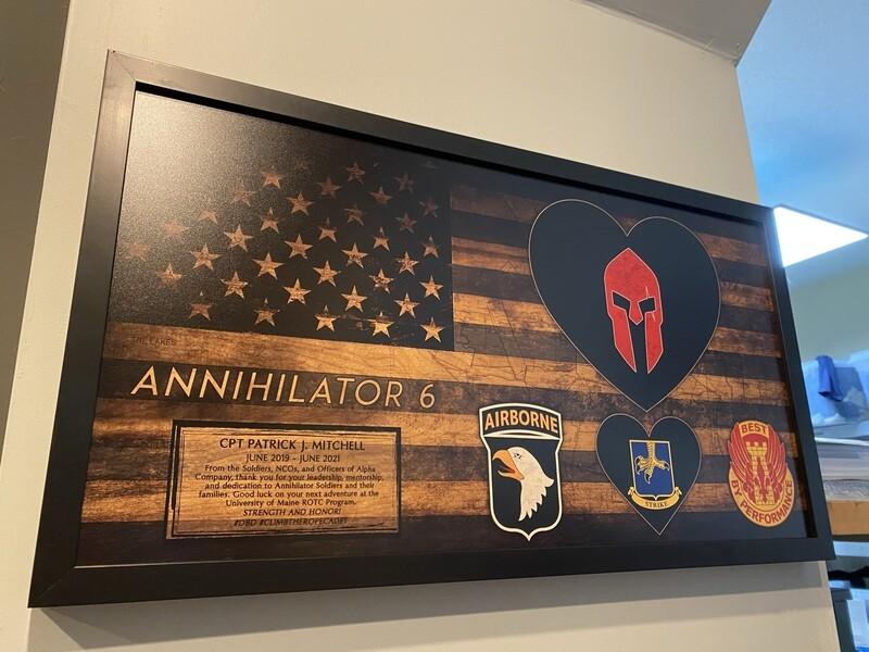 "A Co ""Annihilator"" 526 BSB Rustic Flag Plaque - 28.5""x15.75"""