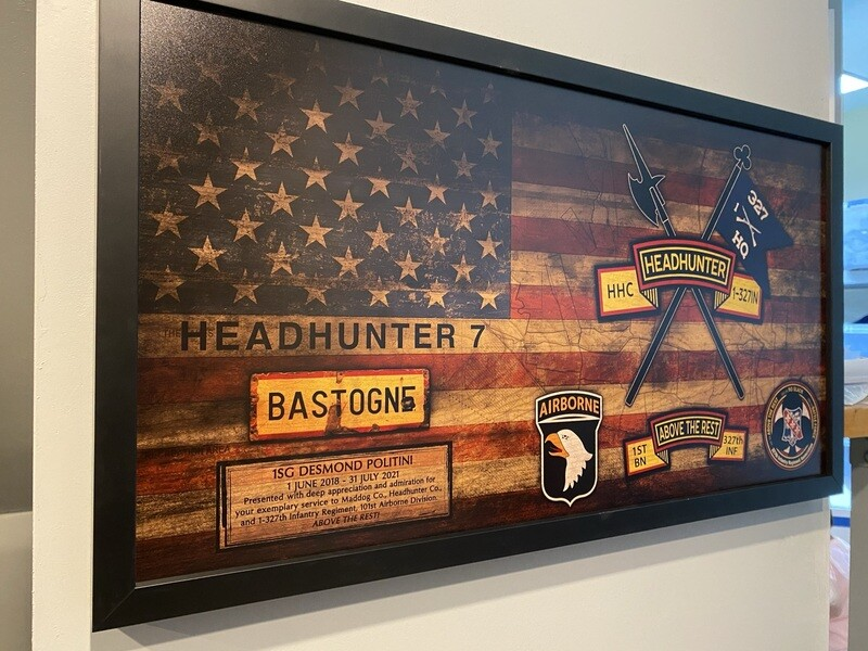 """HHC """"Headhunters"""" 1-327th IN Rustic Flag Plaque - 28.5""""x15.75"""""""