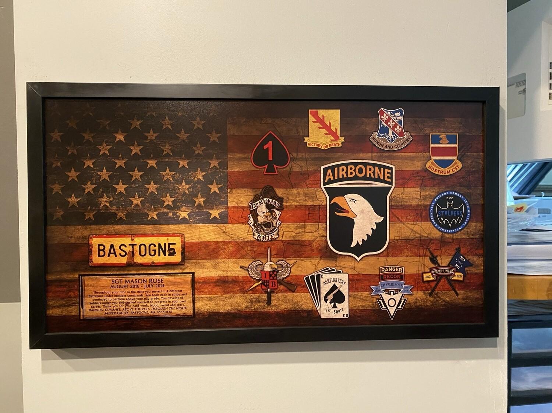 """1BCT 101st Airborne Rustic Flag Plaque - 28.5""""x15.75"""""""