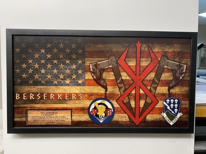 """3rd PLT ABLE Co. 1-506th Rustic Flag Plaque - 28.5""""x15.75"""""""