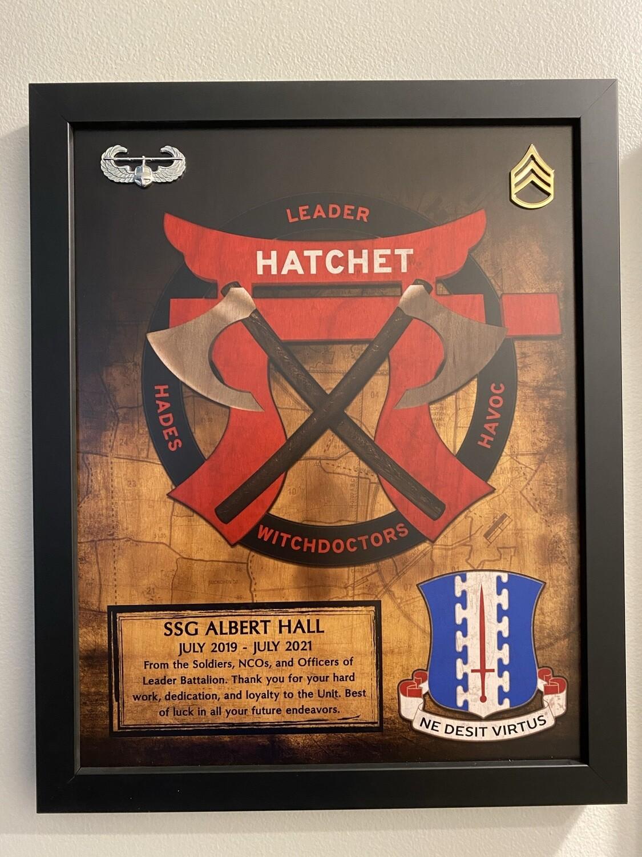 """""""Hatchet"""" 1-187 IN Wood Plaque - 11""""x13"""""""