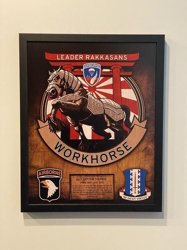 "G FSC ""Workhorse"" 1-187 INF Wood Plaque - 16.5""x20.5"""