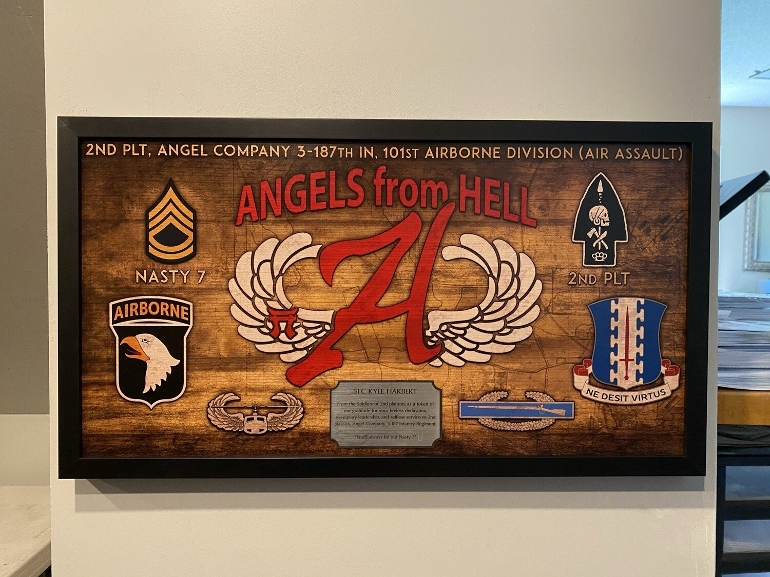 """A Co """"Angel"""" 3-187 INF Wood Plaque - 28.5""""x15.75"""""""