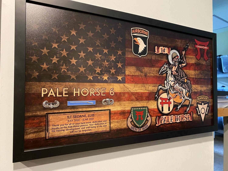 """""""Pale Horse Platoon"""" 1-33 CAV Rustic Flag Plaque - 28.5""""x15.75"""""""