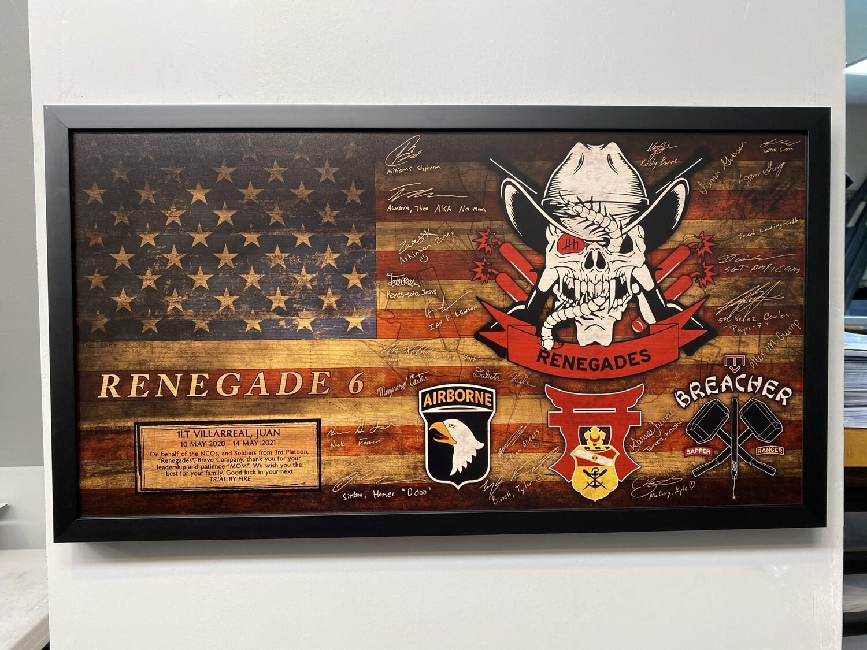 "B Co 21 BEB ""Renegade Platoon"" Rustic Flag Plaque - 28.5""x15.75"""