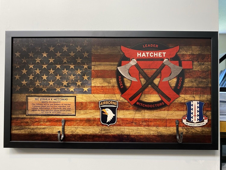 """Hatchet"" 1-187 INF Rustic Flag Plaque - 28.5""x15.75"""