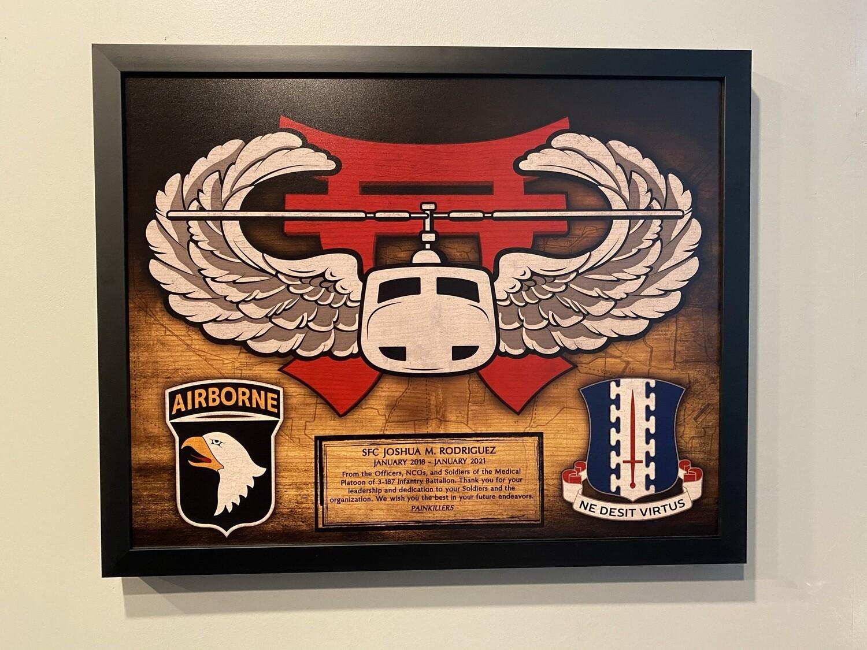 "3BCT 101st Airborne Air Assault Wood Plaque - 16.5""x20.5"""