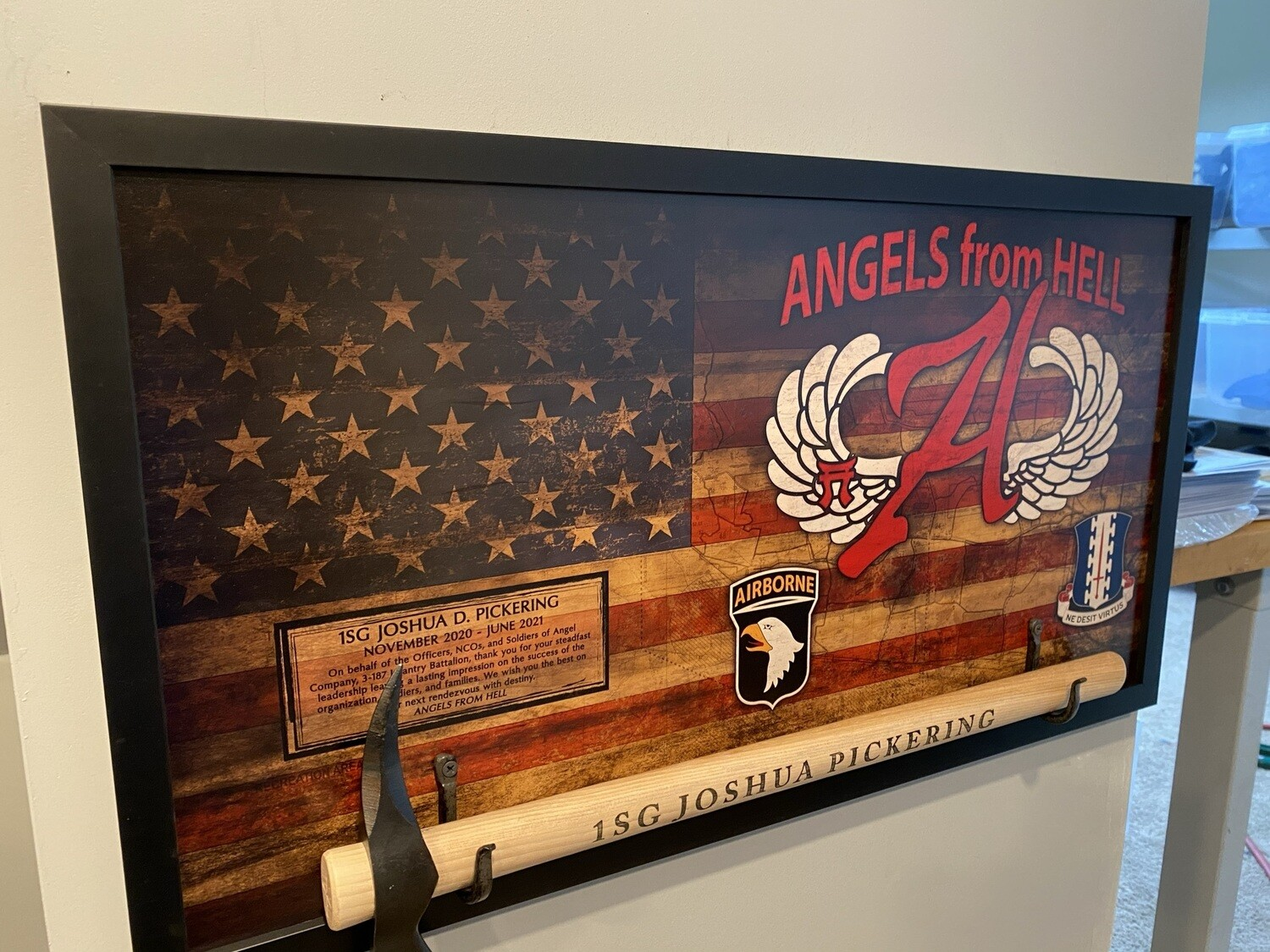 """A Co """"Angel"""" 3-187 INF Rustic Flag Plaque - 28.5""""x15.75"""""""