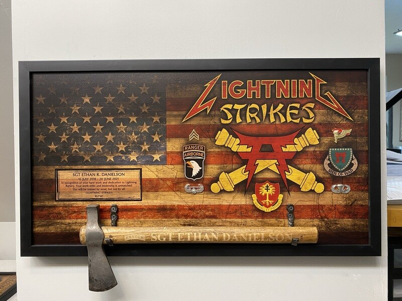 "HHB ""Lightning Battery"" 3-320th Rustic Flag Plaque - 28.5""x15.75"""