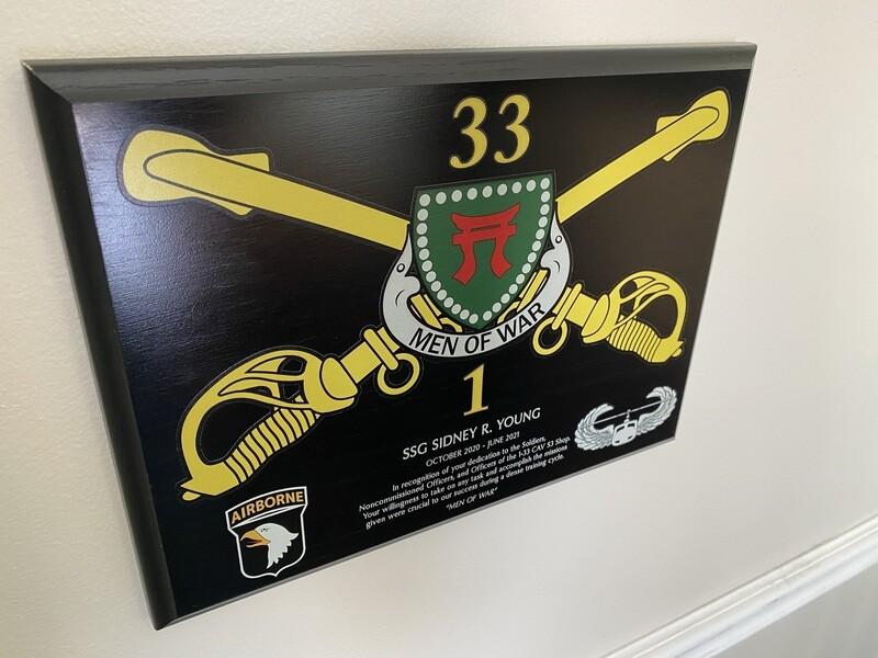 """1-33 CAV """"Men of War"""" - 9""""x12"""" Plaque"""