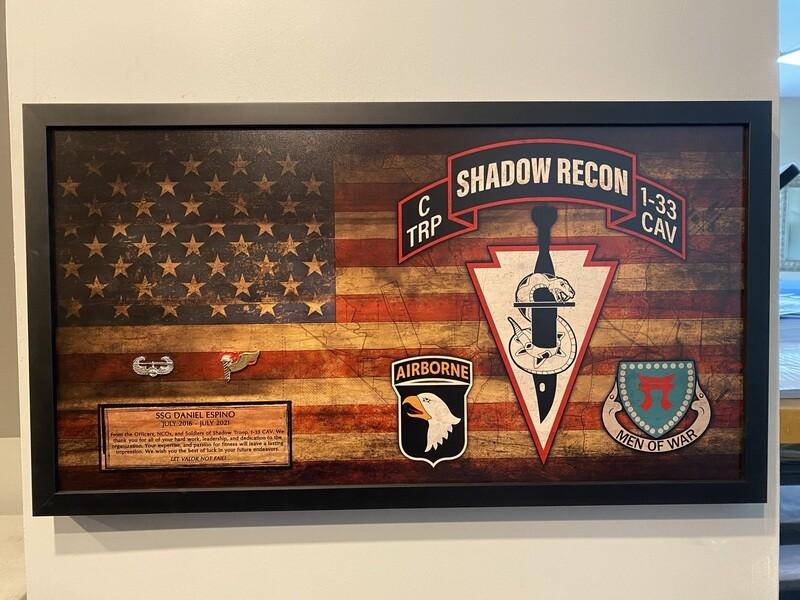 """C TRP """"Shadow Recon"""" 1-33 CAV Rustic Flag Plaque - 28.5""""x15.75"""""""