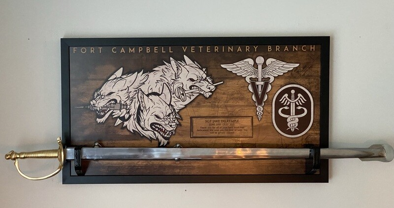 """Fort Campbell Veterinary Branch Plaque - 28.5""""x15.75"""""""