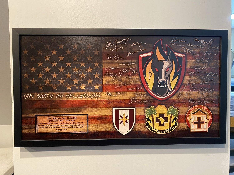 "HHC 586th FH ""Hellhounds"" Rustic Flag Plaque - 28.5""x15.75"""