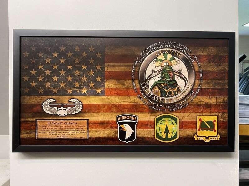 "218th MP Company Rustic Flag Plaque - 28.5""x15.75"""