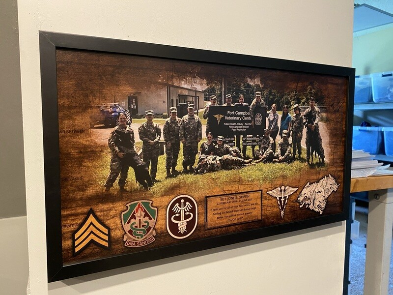 """Fort Campbell Veterinary Center Wood Plaque - 28.5""""x15.75"""""""