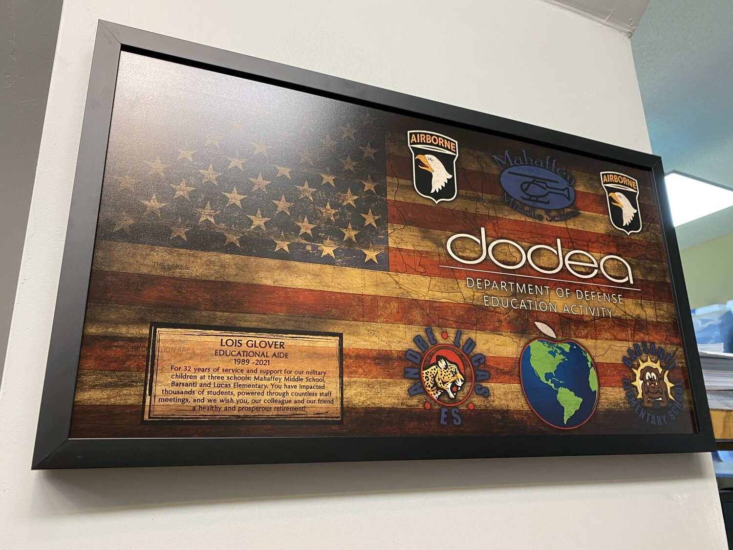 """Fort Campbell School System Wood Plaque - 28.5""""x15.75"""""""