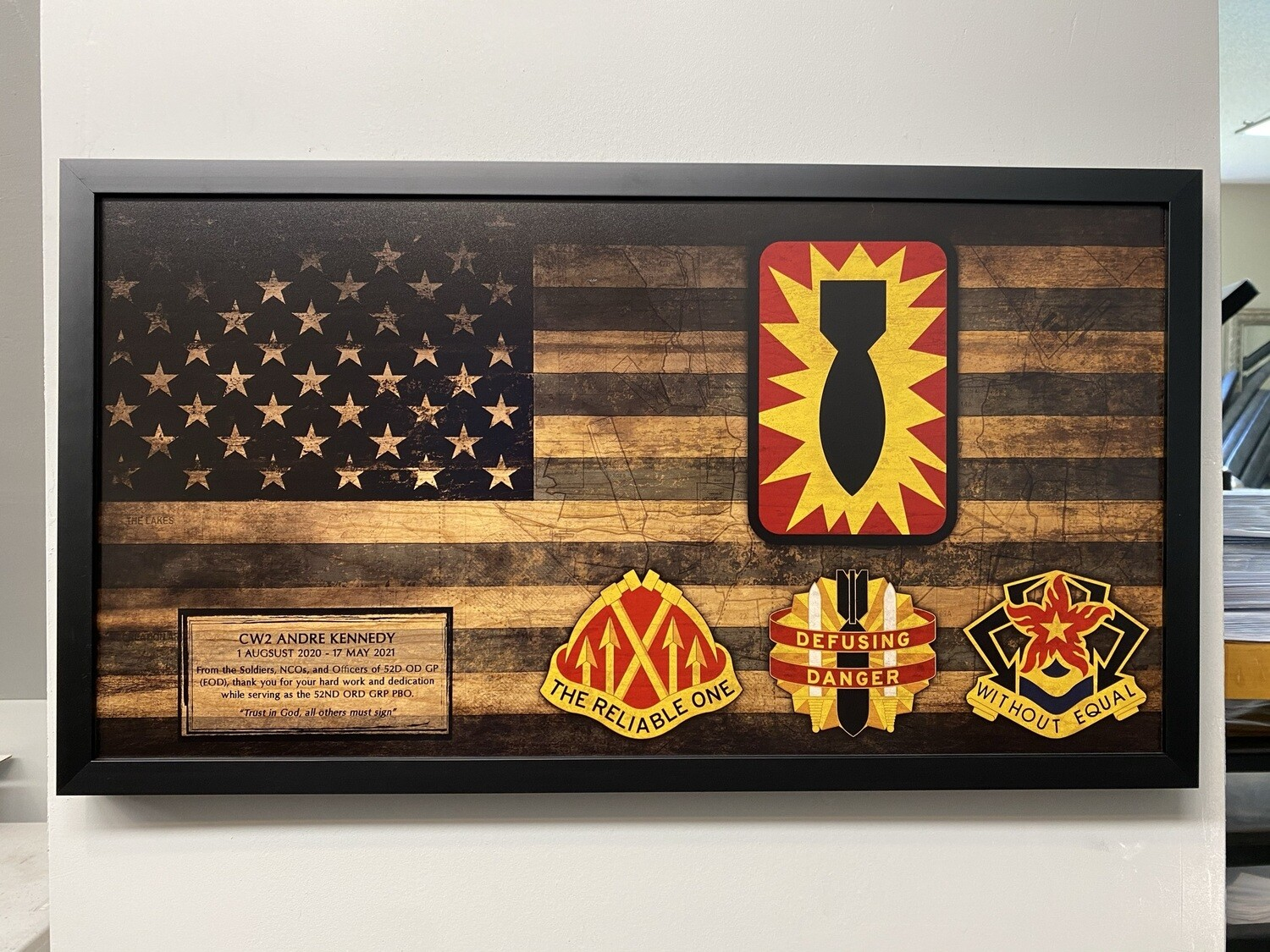 """52nd EOD Rustic Flag Plaque - 28.5""""x15.75"""""""