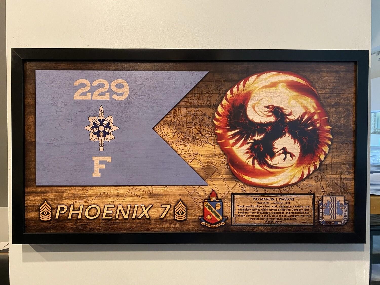 "F Co ""Phoenix"" 229 MI Wood Plaque - 28.5""x15.75"""