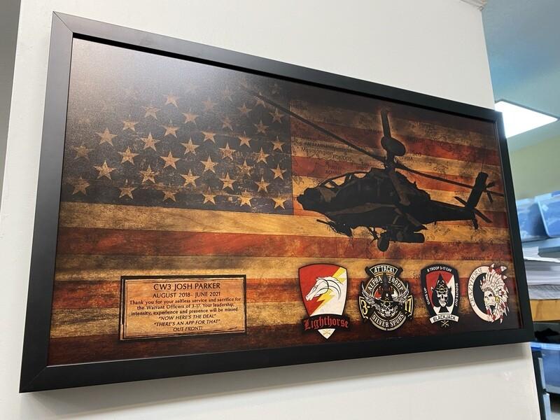"3-17 CAV Rustic Flag Plaque - 28.5""x15.75"""