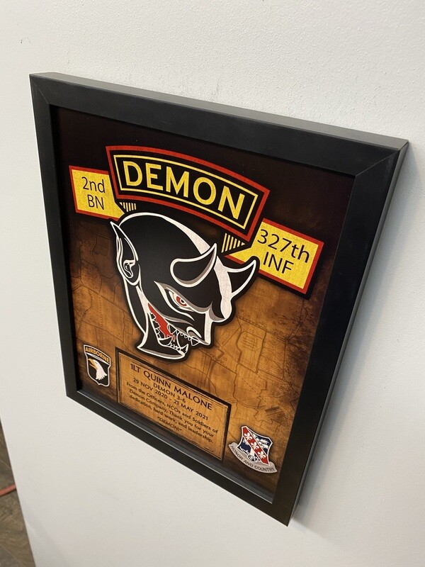 """D Co """"Demon"""" 2-327 INF Wood Plaque 11""""x13"""""""
