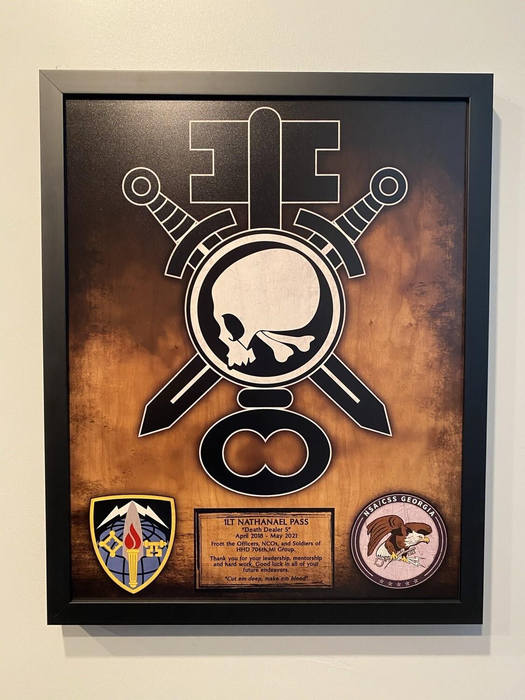 "HHD ""Death Dealers"" 706th MI Group Wood Plaque - 16.5""x20.5"""