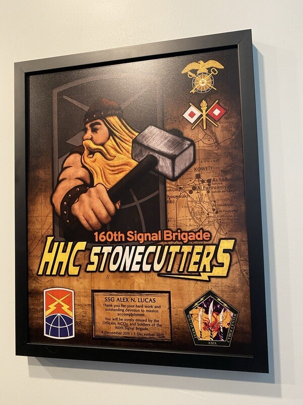 """HHC """"Stonecutters"""" 160th Signal Brigade Wood Plaque - 16.5""""x20.5"""""""