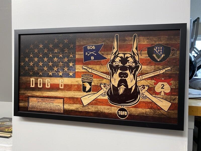 "B Co ""Dog"" 2-506th Rustic Flag Plaque - 28.5""x15.75"""