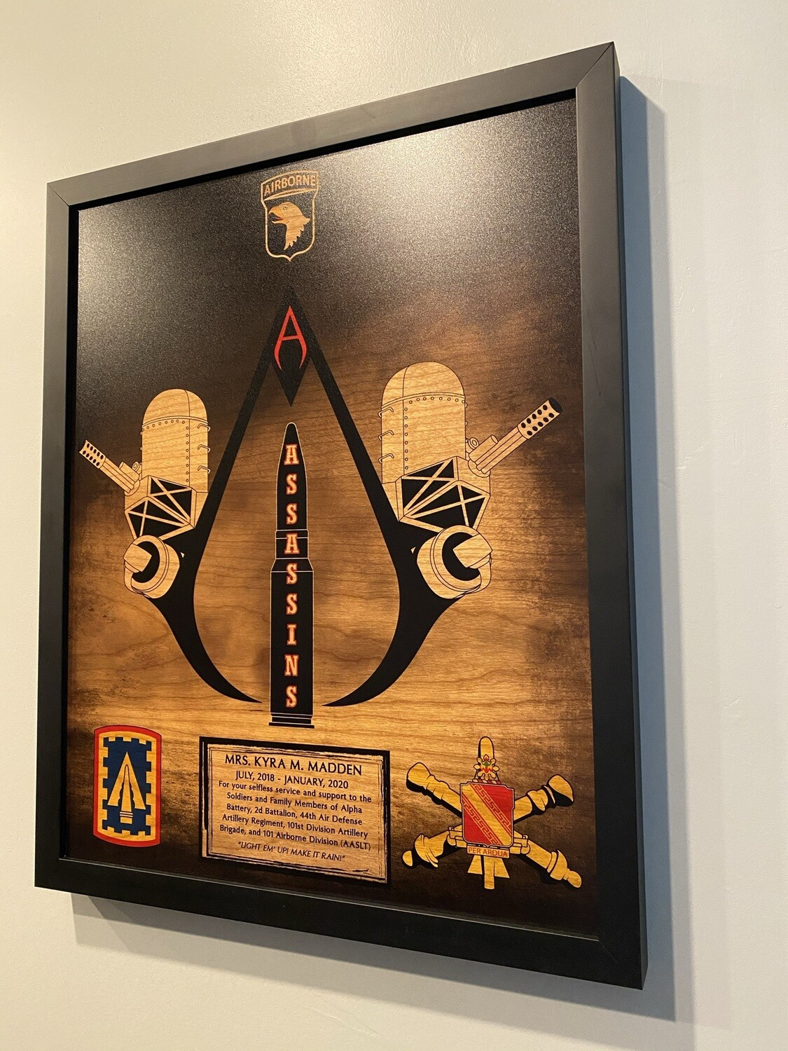 """Assassins 2-44 ADA Stained Wood Plaque - 16.5""""x20.5"""""""