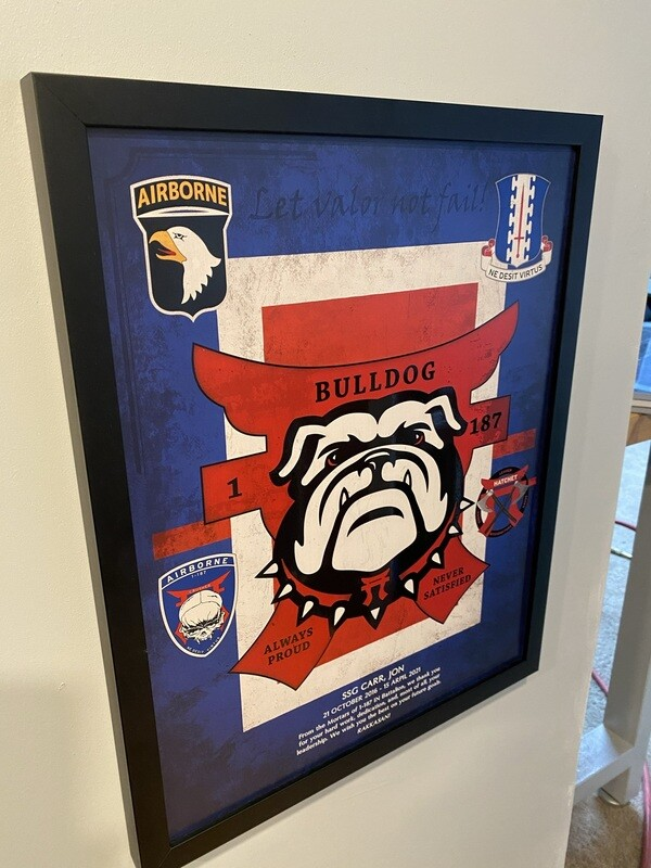 "B Co ""Bulldog"" 1-187 INF Wood Plaque - 16.5""x20.5"""