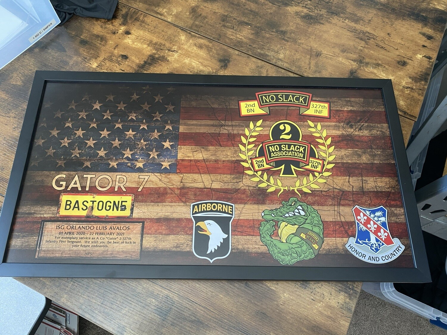 """A Co """"Gator"""" 2-327th IN Rustic Flag Plaque - 28.5""""x15.75"""""""