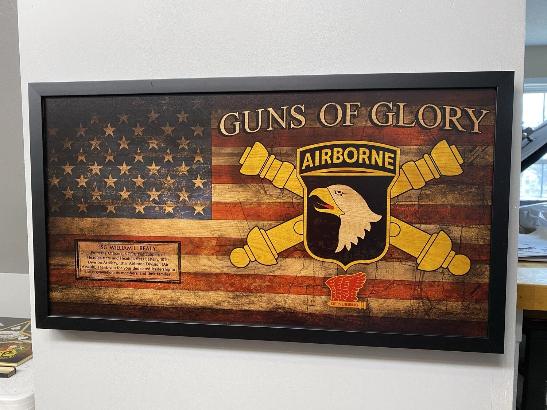 "101st DIVARTY Rustic Flag Plaque - 28.5""x15.75"""