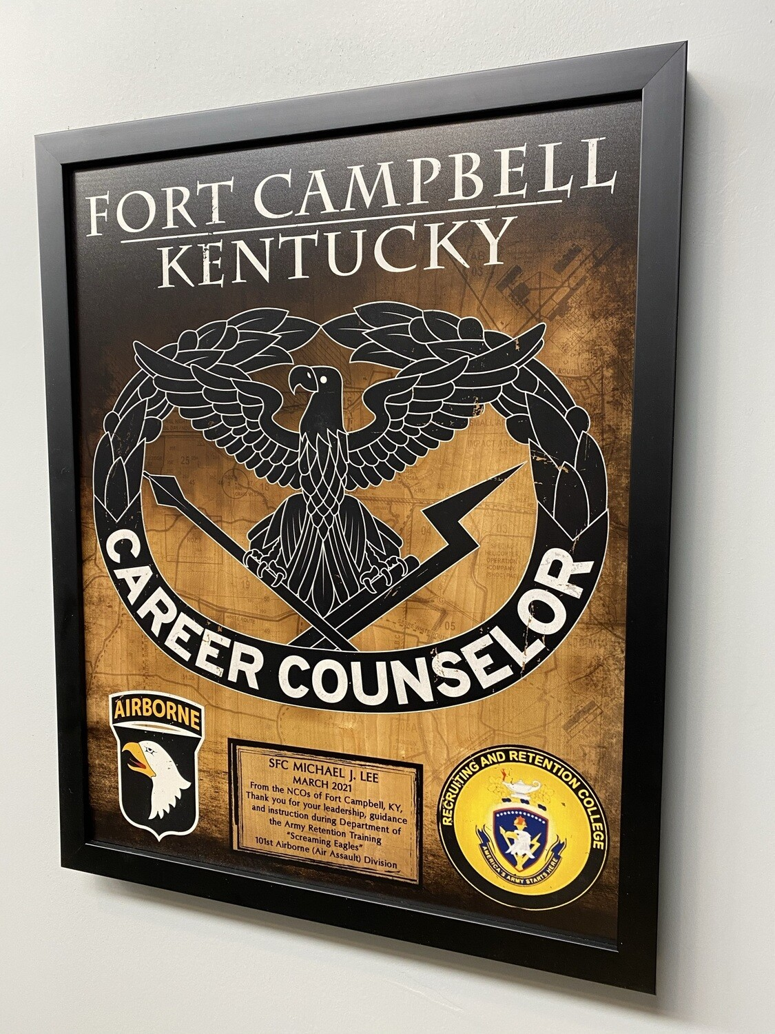 """Fort Campbell Career Counselor Wood Plaque - 16.5""""x20.5"""""""
