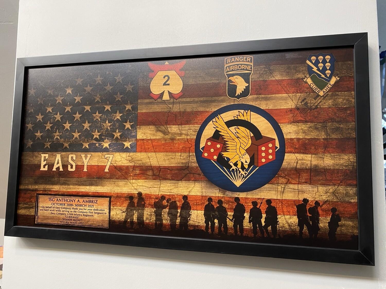 "Easy Company 2-506th Rustic Flag Plaque - 28.5""x15.75"""