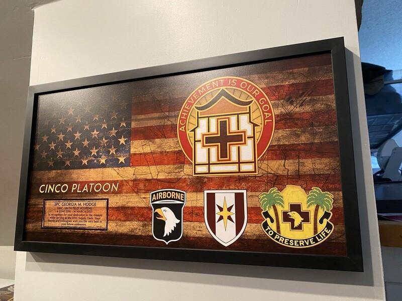 "HHC 586th FH Rustic Flag Plaque - 28.5""x15.75"""