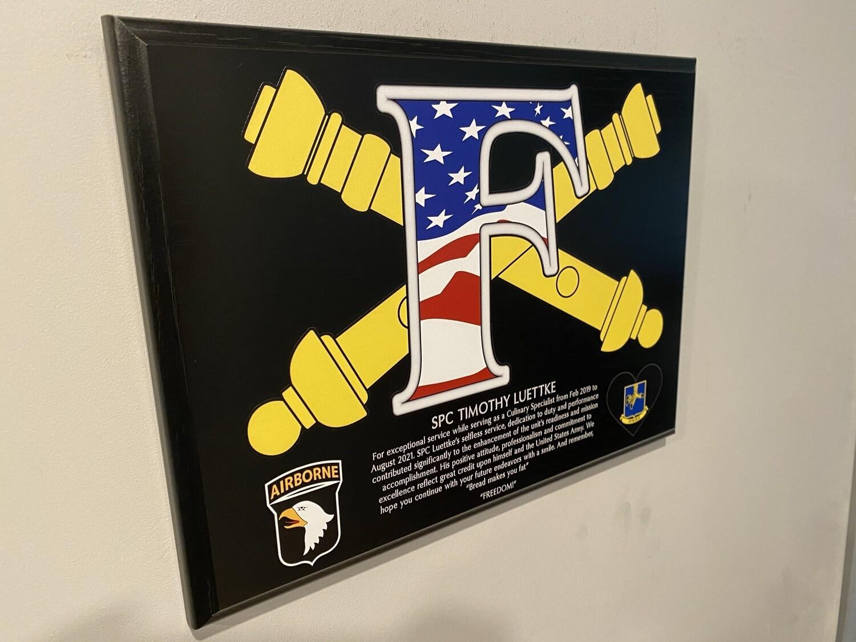 "F Co ""Freedom"" 1-320th FA - 9""x12"" Wood Plaque"