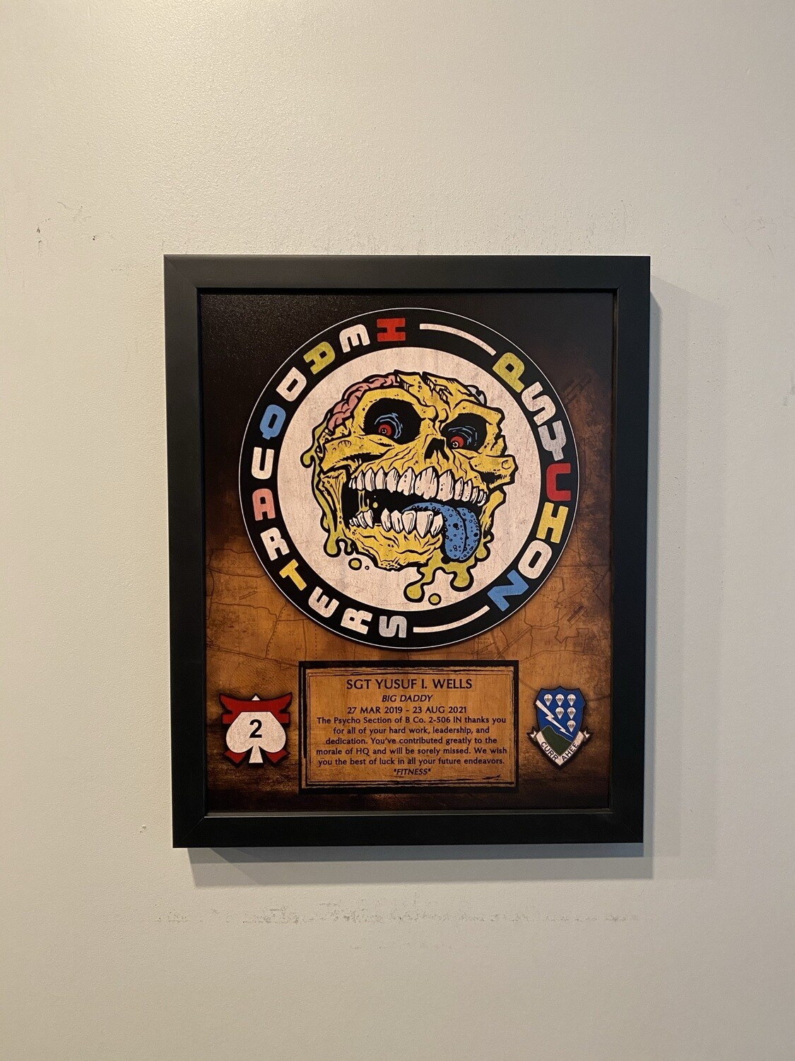 """HQ """"Psychoz"""" B Co 2-506th IN Wood Plaque 13""""x11"""""""