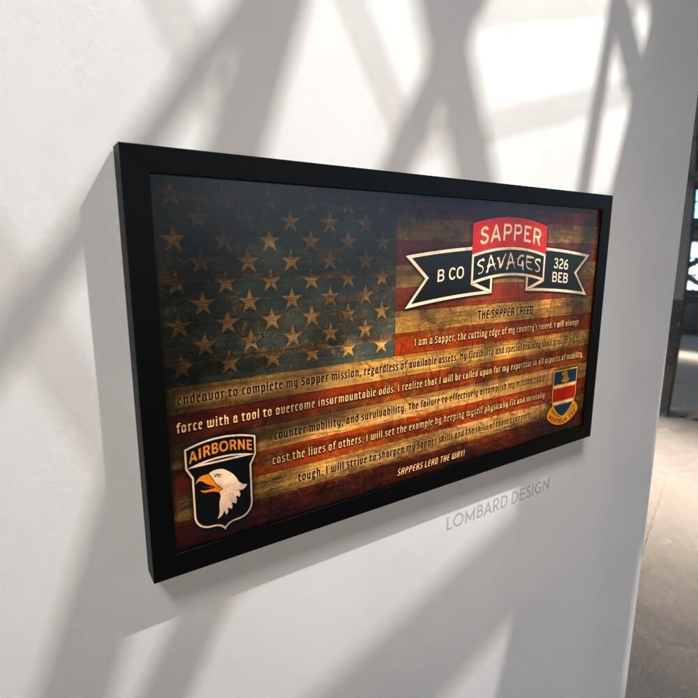 "B Co ""Savages"" 326 BEB Sapper Creed Rustic Flag Plaque - 28.5""x15.75"""