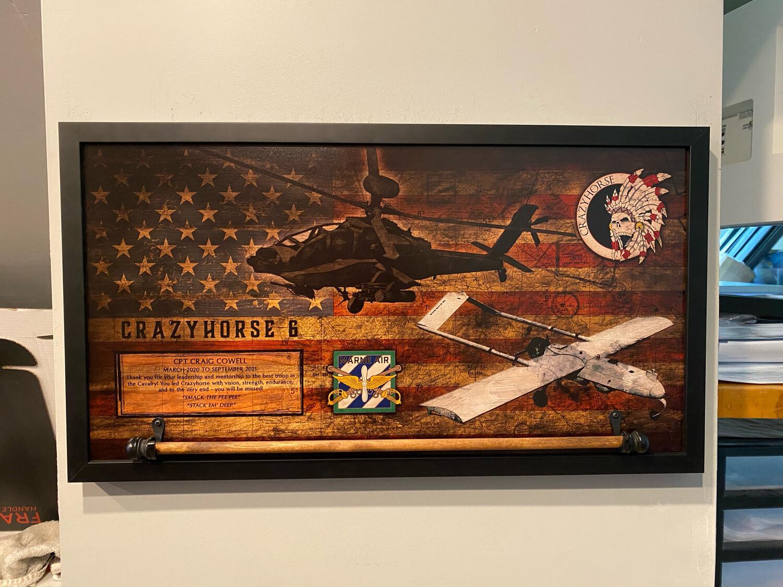 """C TRP """"Crazyhorse"""" 3-17 CAV Rustic Flag Plaque - 28.5""""x15.75"""""""