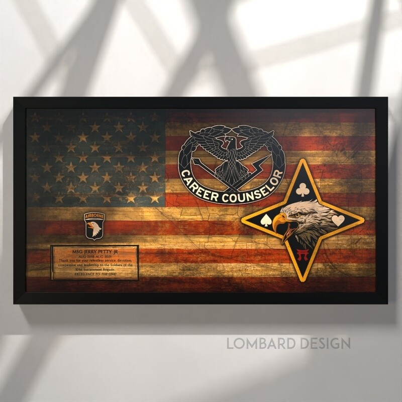 """Career Counselor 101st DSB Rustic Flag Plaque - 28.5""""x15.75"""""""