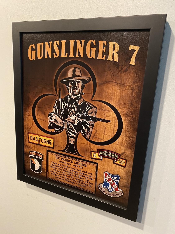 "G Co ""Gunslingers"" 1-327 INF Wood Plaque 11""x13"""