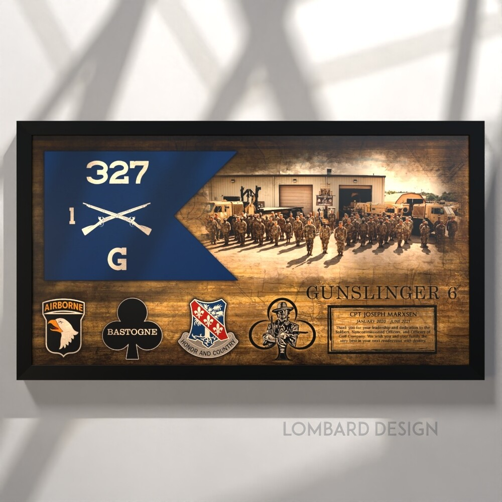 """G Co """"Gunslingers"""" 1-327 INF Guidon Plaque - 28.5""""x15.75"""""""