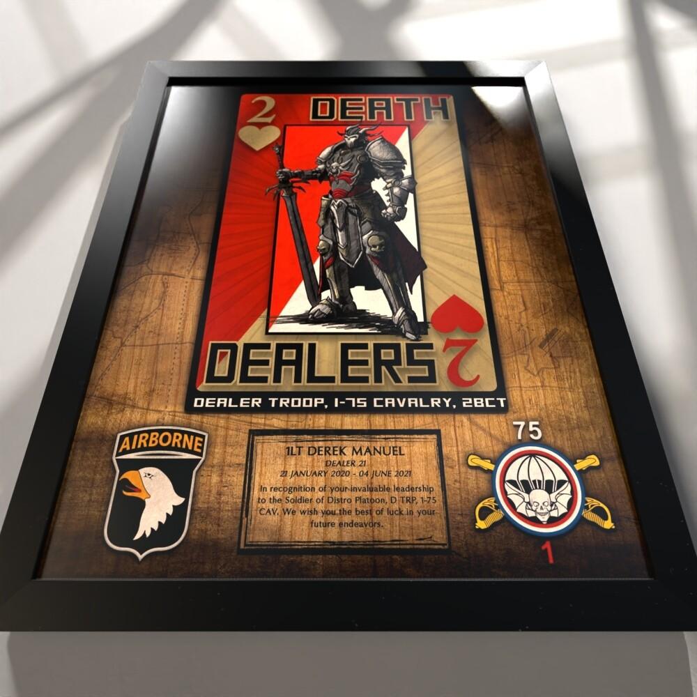 "D TRP ""Death Dealers"" 1-75 CAV Rustic Wood Plaque - 20.5""x16.5"""