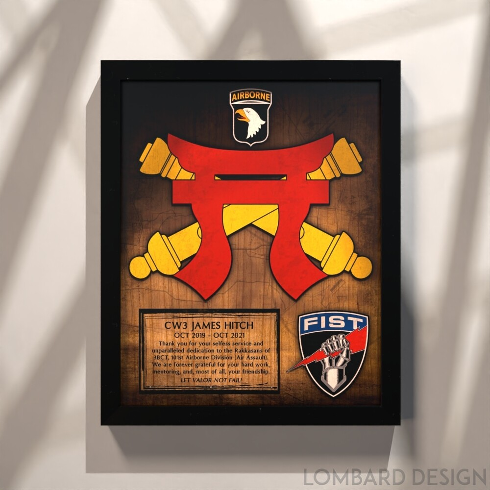 """3-320th FiST Fire Support Wood Plaque 13""""x11"""""""