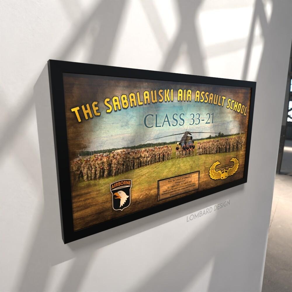 "Sabalauski Air Assault School Rustic Plaque - 28.5""x15.75"""