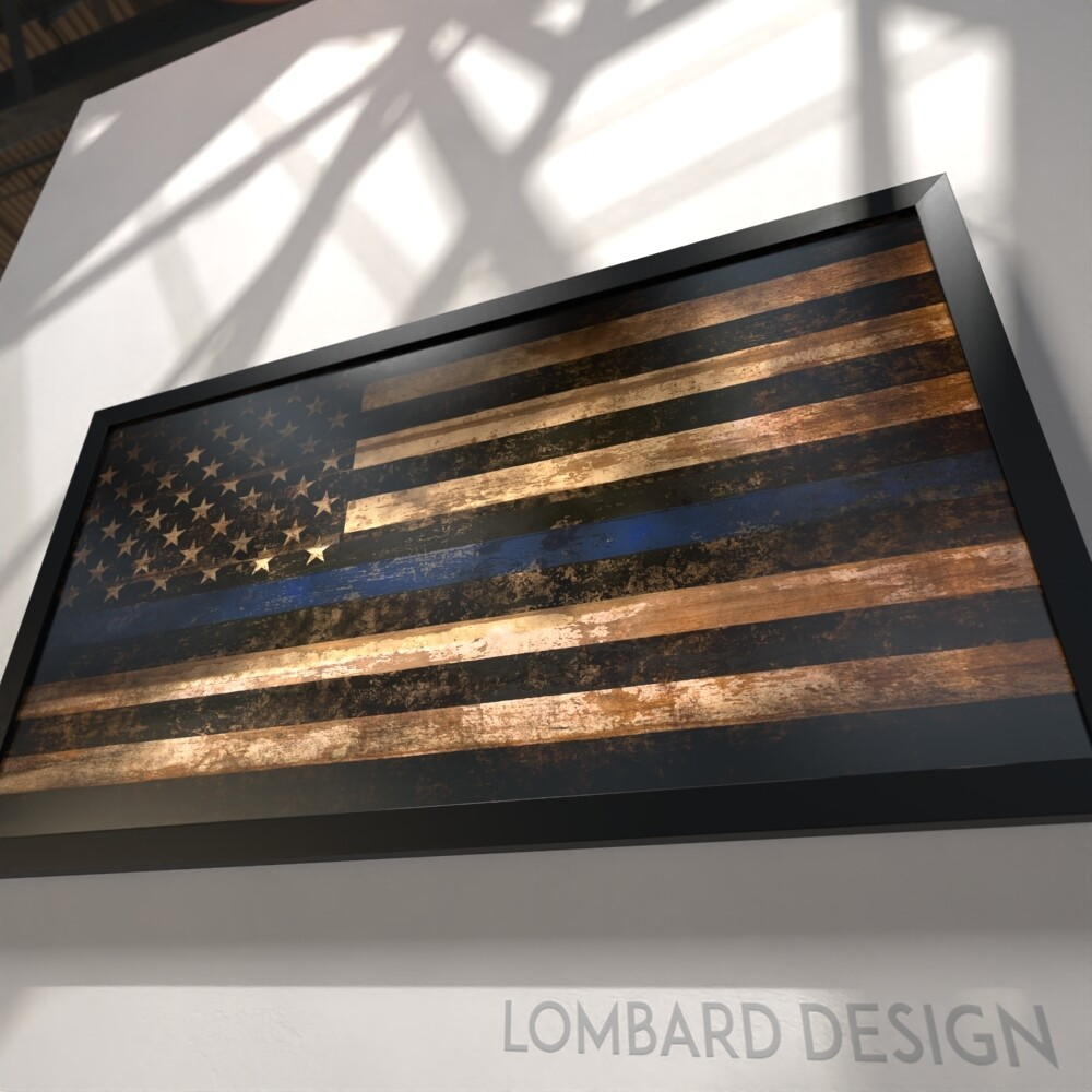"Thin Blue Line Rustic American Flag Plaque - 28.5""x15.75"""