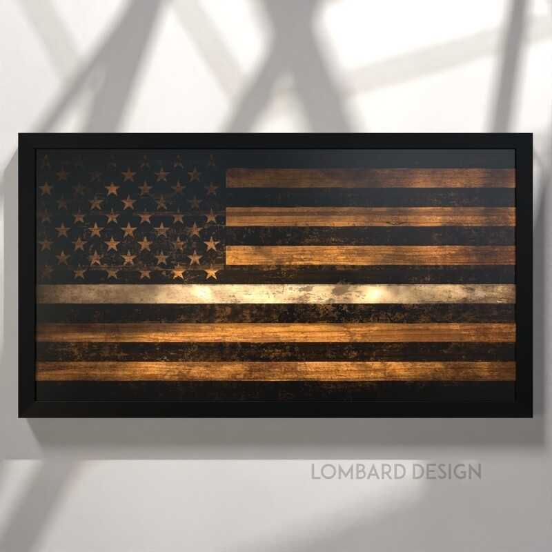 "Thin White Line Rustic American Flag Plaque - 28.5""x15.75"""