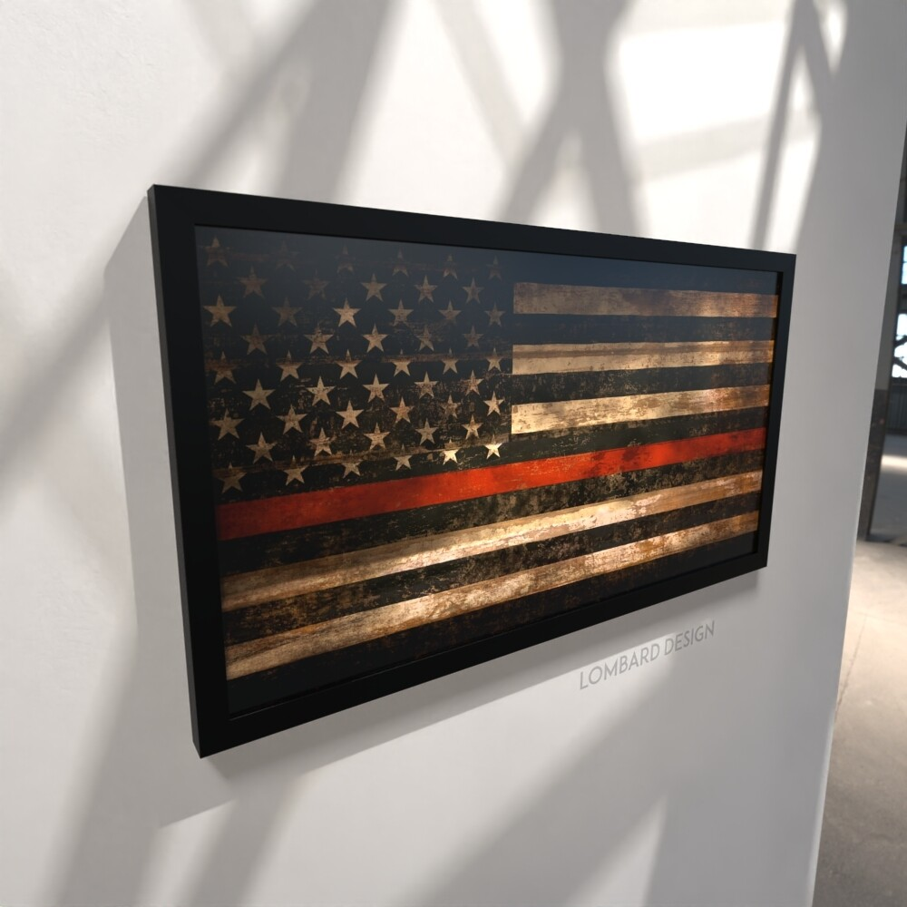"""Thin Red Line Rustic American Flag Plaque - 28.5""""x15.75"""""""