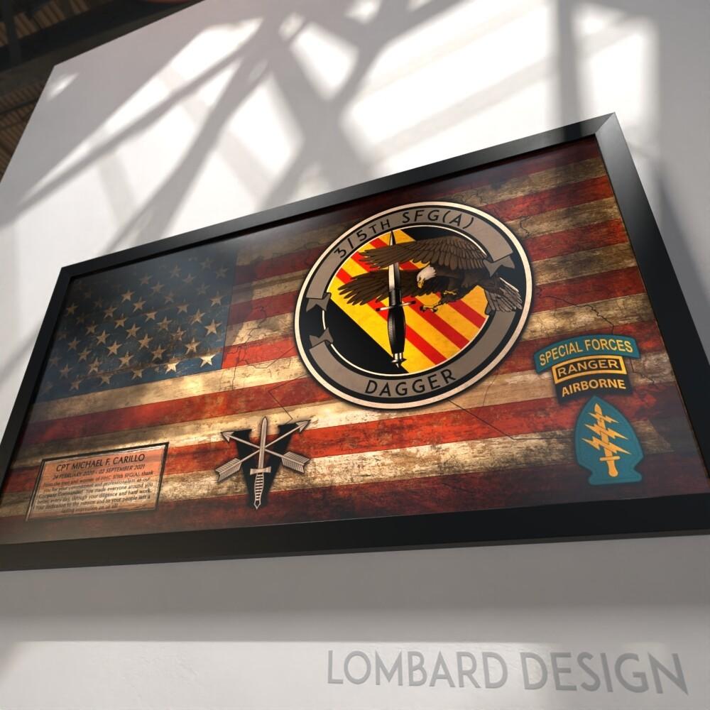 "3/5th SFG(A) Rustic Flag Plaque - 28.5""x15.75"""