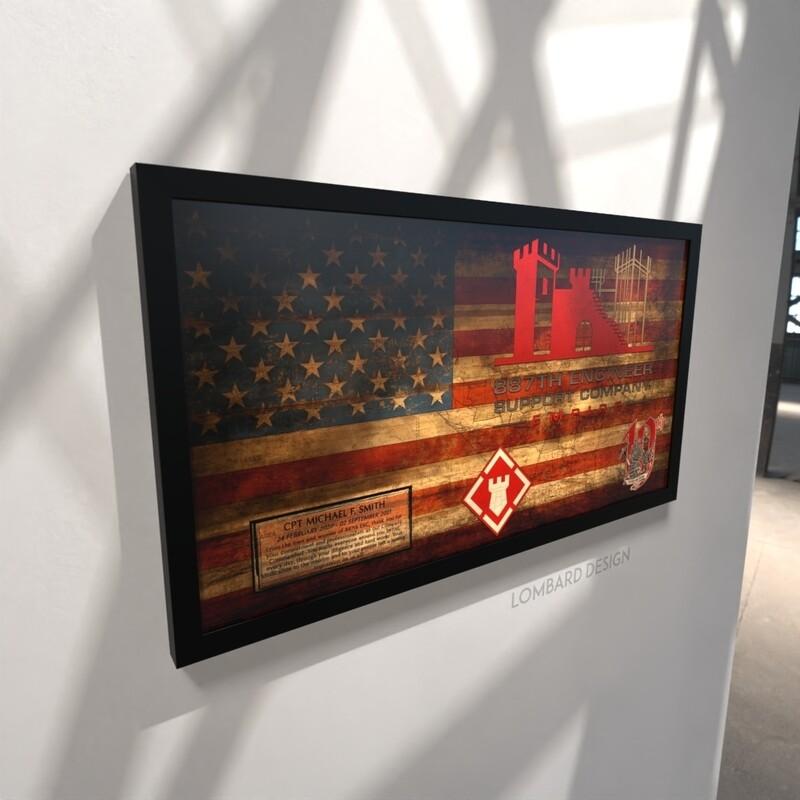 """887th ESC Rustic Flag Plaque - 28.5""""x15.75"""""""