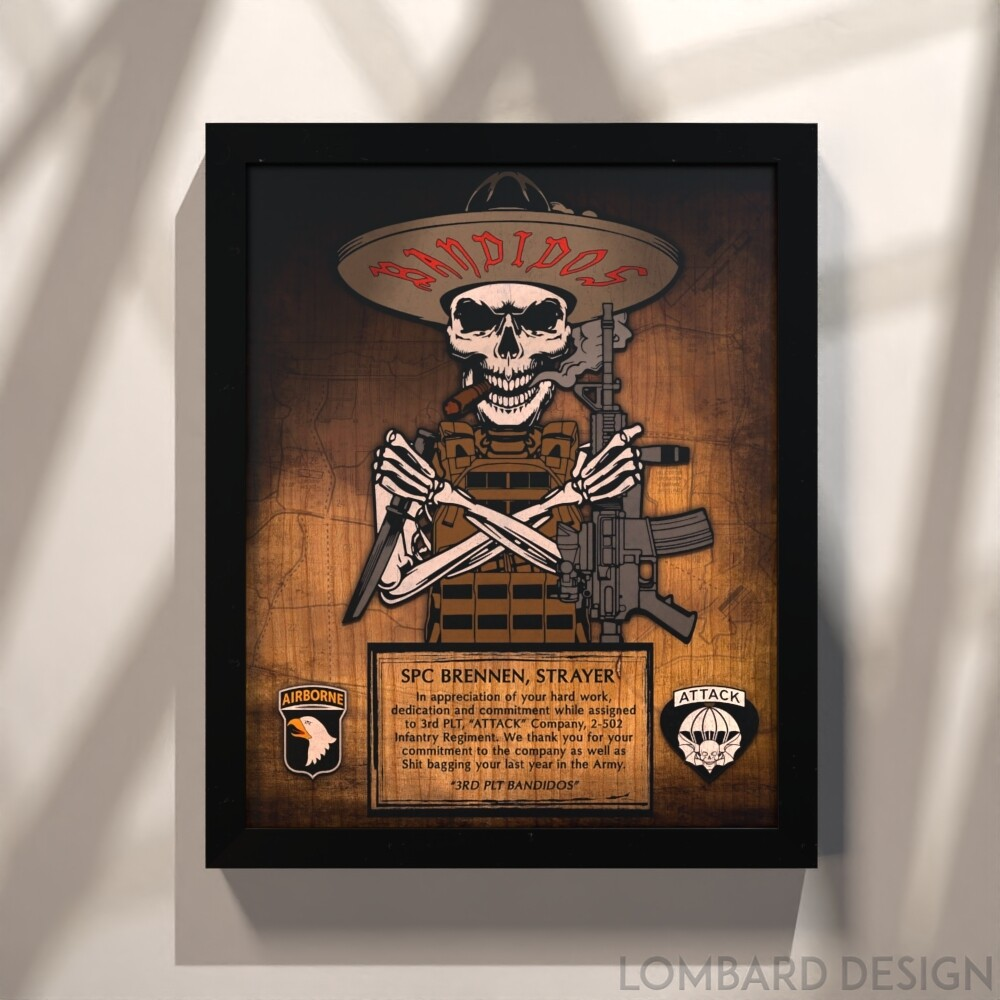 """3rd PLT """"Bandidos"""" A Co 2-502 IN Rustic Wood Plaque - 11""""x13"""""""